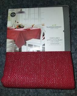 Red/Gold Oblong Table Cloth 60x84 Holiday Christmas Everyday