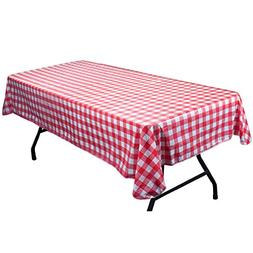 Red and White Vinyl Table Cloth with Flannel Backing by Pudg