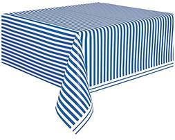 "Royal Blue Striped Plastic Tablecloth, 108"" x 54"""