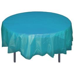 Turquoise Round plastic table cover
