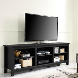 """WE Furniture 70"""" Black Wood TV Stand Media Console"""