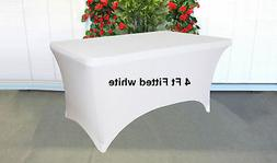 White Stretch Spandex 4 Ft Rectangular Tablecloth Folding /