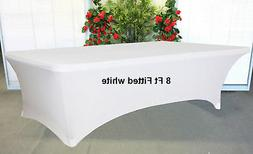 White Stretch Spandex 8 foot Trestle / Folding Table Cover W