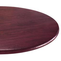 Wood Grain Vinyl Elastic Table Cover with Fleece Backing in