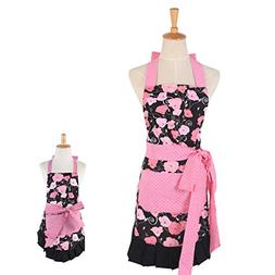 Surblue 2 Pack Adjustable Bib Apron for Women Mom Kitchen Ap
