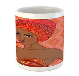 Ambesonne African Mug, Portrait of African Woman in Ethnic D