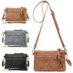 Aitbag Women's Multi Zipper Pocket Wristlet Crossbody Bag Le