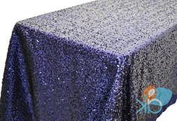 AK-Trading ROYAL BLUE Sequin Rectangular Tablecloth, Rain Dr