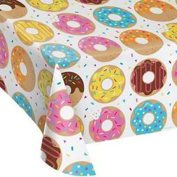 Creative Converting All Over Print Plastic Tablecover, Donut