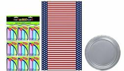Amscan Silver Party Plates with Patriotic Table Cover , and