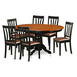 East West Furniture AVAT7-BLK-LC 7 Piece Table and 6 Kitchen