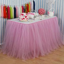 Vlovelife Baby Pink Tulle Table Skirt Tutu Tableware TableCl