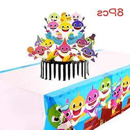 Baby Shark Birthday Cake Topper set, Baby Shark Plastic Tabl