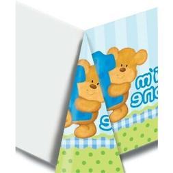 Bear's 1st Birthday Boy Plastic Tablecover