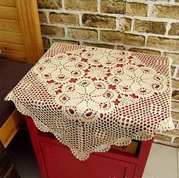 Gracebuy Beige 19 Inch Square HANDMADE 100% Cotton Crochet L