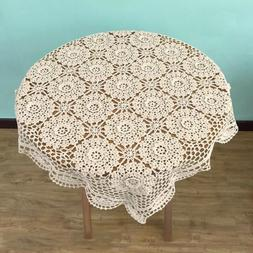 Square Lace Cotton Beige Table Cover Doily Hand Crochet Tabl