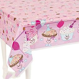 "Fun Express 1st Birthday Cupcake Plastic Tablecloth | 54"""