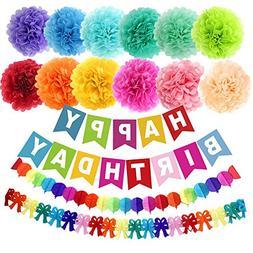 """APLANET 15pcs 10"""" Birthday Paper Pom Poms , Happy Birthday P"""