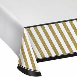 Creative Converting Black & Gold Border Print Plastic Table