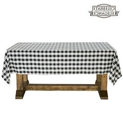 black and white checkered tablecloth polyester picnic