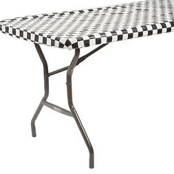 Black  White Checkered Table Cover Roll