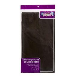 PACK OF 4 BLACK Disposable Plastic Tablecloths, 54 x 108""