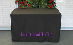 Black Fitted 4 Feet Tablecloth Polyester Table Cover Wedding
