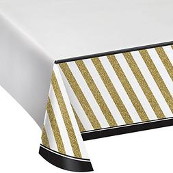 Black and Gold Striped Border Print Plastic Tablecover 137x