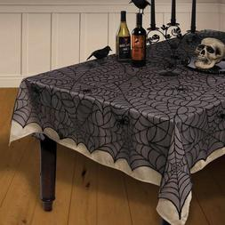 Black Lace Spider Cob Web Halloween Party Table Cover Tablec