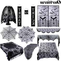 Black Lace Spider Web Table Runner Fireplace Scarf Cloth Cov