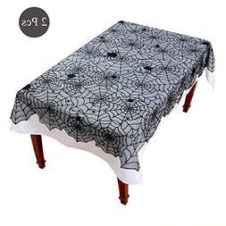 Black Lace Tablecloth Set - 2 Pieces Spider Web Gothic Punk