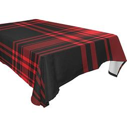 My Little Nest Black Red Tartan Check Rectangle Tablecloth W