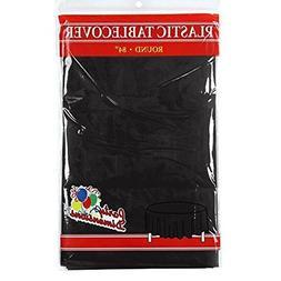 Black Round Plastic Tablecloth - 4 Pack - Premium Quality Di