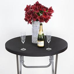Efavormart Black Spandex Cocktail Table Top Stretch Cover Fo