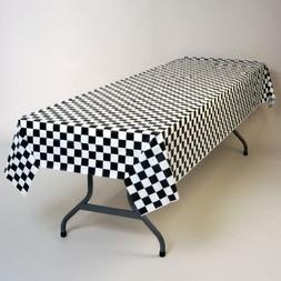 "Black and White Checker Plastic Tablecloth 100' x 40"" Roll"