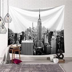 Black And White Empire State Building Tapestry Wall Hanging