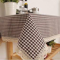 Superwinger Black and white Plaid Lace Table Cloth Classic S