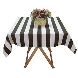 USTIDE Black and White Striped Tablcloth Cotton Canvas Table