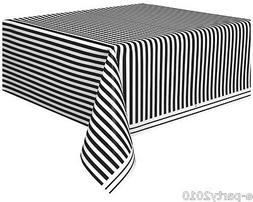BLACK AND WHITE STRIPES PLASTIC TABLE COVER ~ Wedding Birthd