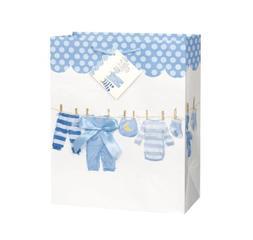 Blue Bow Clothesline Boy Baby Shower Gift Bag