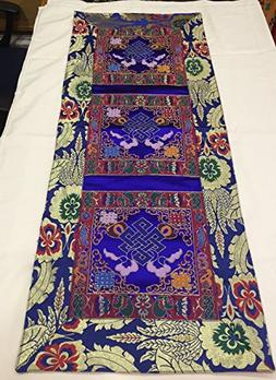 Tibetan blue endless knot silk brocade table runner/shrine c