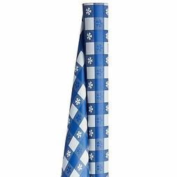 Blue Gingham Plastic Table Cover Roll, Cut to Fit Any Size T