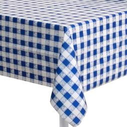 blue gingham plastic tablecover
