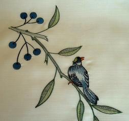 BLUE JAY Bird Rectangular Dining Table cover Beige Tableclot