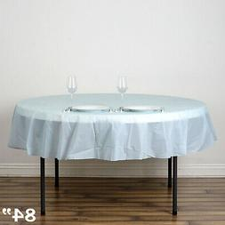 """Blue ROUND 84"""" Disposable Plastic Tablecloth Table Cover Aff"""