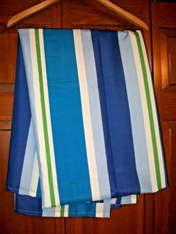 TARGET BLUE STRIPED ZIP-ON OUTDOOR FABRIC TABLECLOTH~UMBRELL