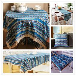 Blue Vintage Bohemian Lace Tablecloth Boho Kitchen Dining Ta