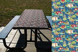 Blue Vintage Camper Tablecloth - Picnic Table Cover - Fitted