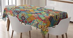 Bohemian Tablecloth by Ambesonne, Checkered Pattern with Eth