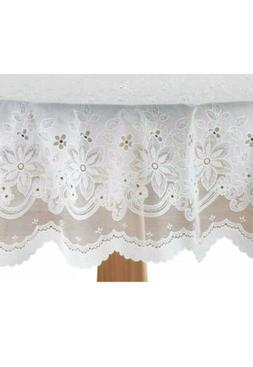 """Silver Star Brands Elegant Floral Lace Table Cover ~ 70"""" R"""